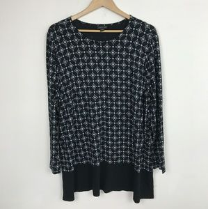 J. Jill Top Blouse Long Sleeve Black White Sz: XL